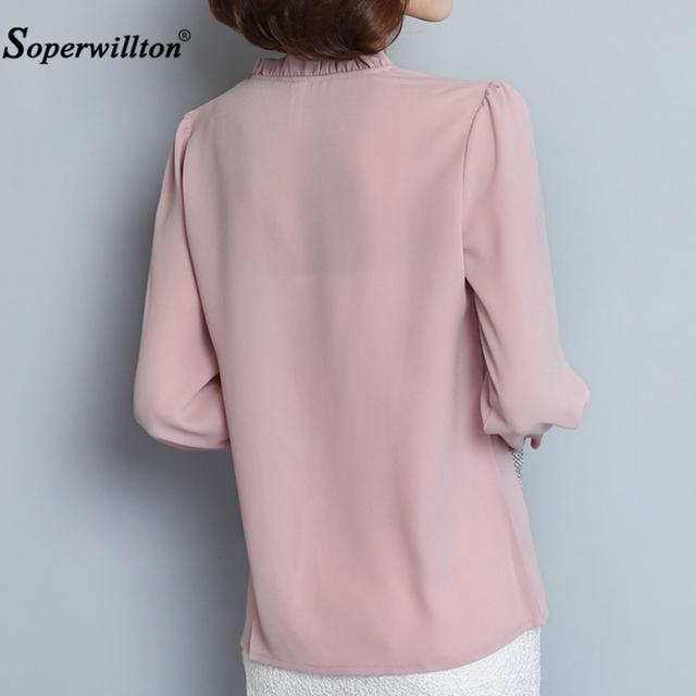 2018 nuevas camisas de primavera y otoño para mujer Blusa de chifón de manga larga con cuello de volantes Tops de moda ropa de mujer talla grande XXXL