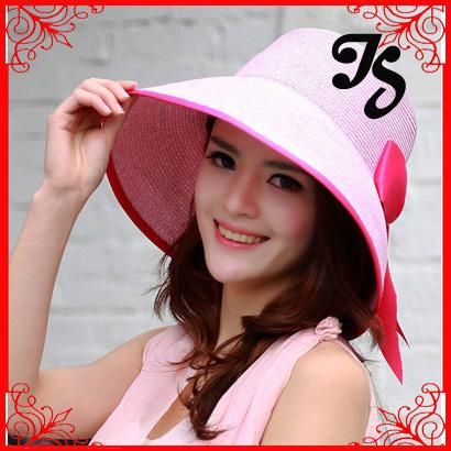 Estilo coreano de moda de ala ancha beach sun sombrero de paja mujeres niñas plegable sombrero del cubo del verano con un arco