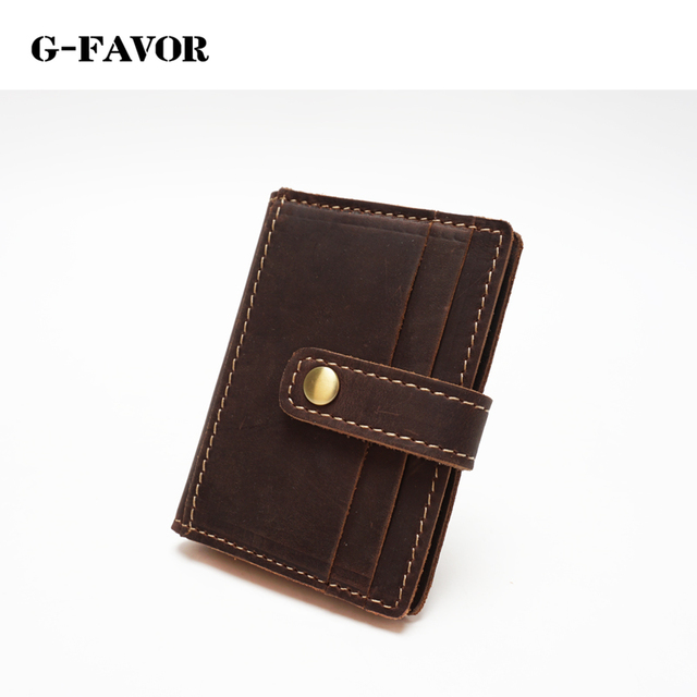 High Quality Men Genuine Leather Wallet Business Casual Credit Card ID Holder Cowhide Leather Money Card Holder Coffee YD-1810