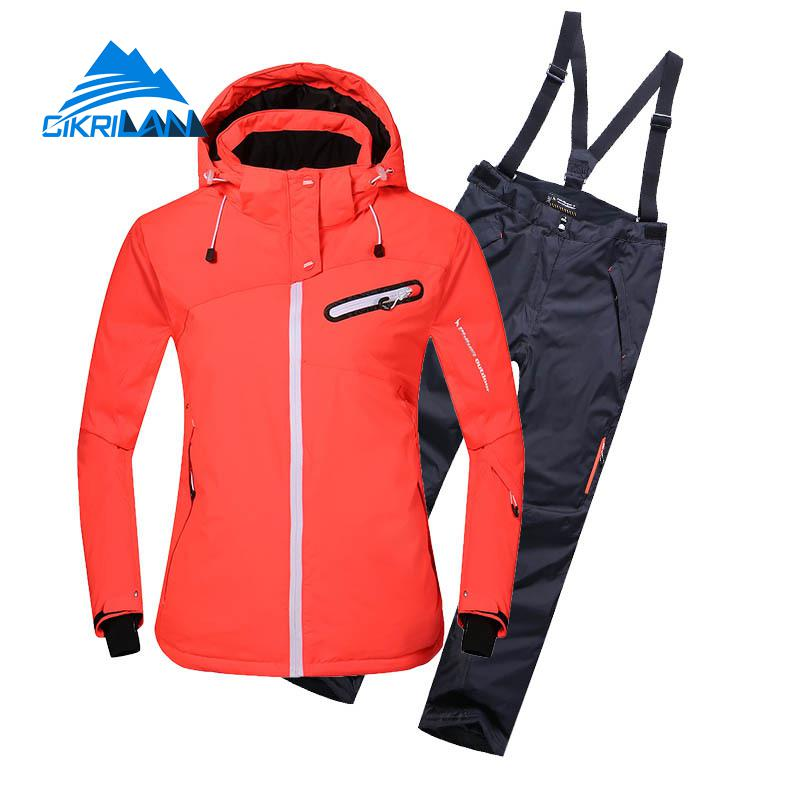 Ladies Windbreaker Outdoor Winter Sport Skiing Snowboard Cotton Padded Waterproof Jacket Snow Pants Ski Suit Snowboarding Set