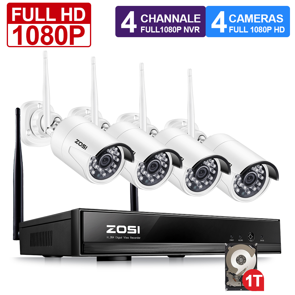 ZOSI 4CH Wireless NVR Kit 1080P HD Outdoor IP Video Security Camera System Waterproof IR Night