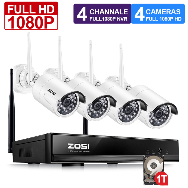 ZOSI 4CH Wireless NVR Kit 1080P HD Outdoor IP Video Security Camera System Waterproof IR Night Vision Wifi Surveillance System