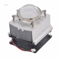 20W 50W 60W High Power LED Aluminium Heat Sink Cooling Fan 90 Degree 57mm Optical Glass