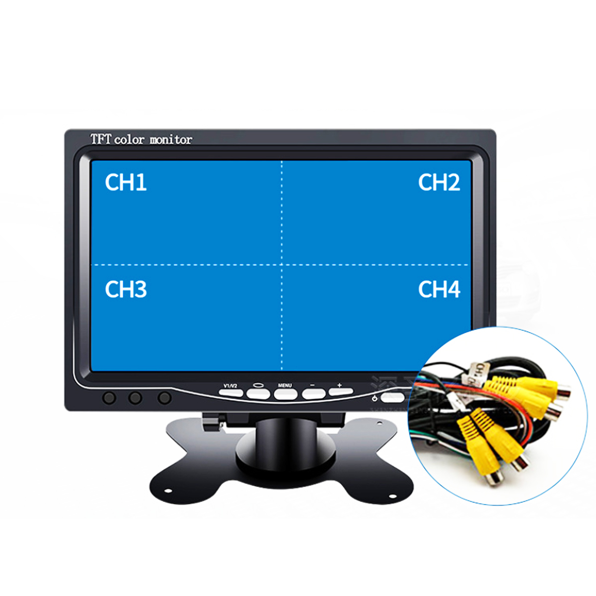 9 Inch TFT LCD Split Screen Quad Monitor Security Surveillance Car Headrest Rear View Monitor with 4 RCA Connectors