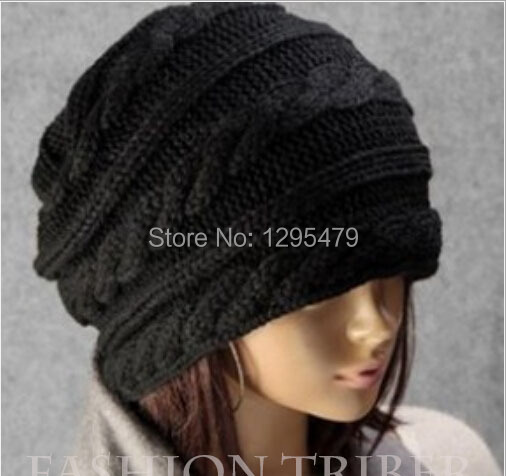 Fashion warm autumn winter knitted hat women stripes Skullies Beanies South Korean version of the hat