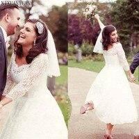 1920's Tea Length Country Wedding Dresses Vintage Short Garden Beach Bridal Gown Wedding Gown Vestido De Novia