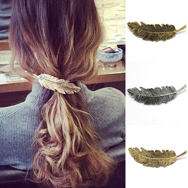 1pcs Women Lady Girl Fashion Metal Leaf Hair Clip Hairpin Barrette   Headwear   Hair Pins Accessories Hair Styling Braiding Tools