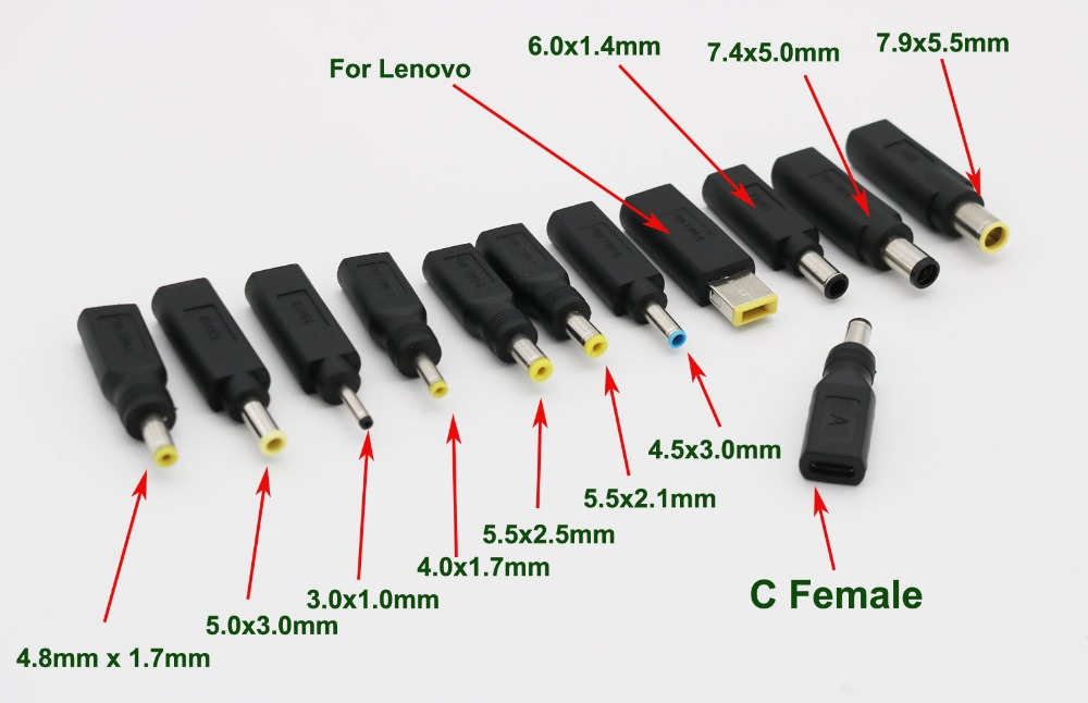 7.4x5.0mm Male to 5.5x2.1mm Female Socket DC Power Connector Adapter DELL Laptop