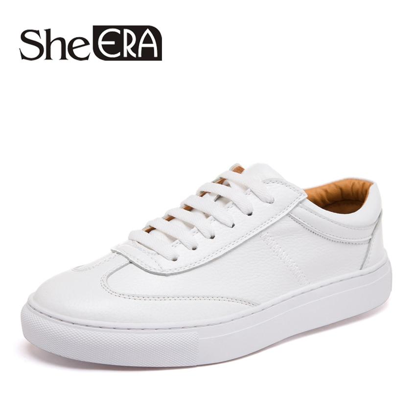 She Era 2017 Womens Split Leather Shoes 2cm Fashion Women Shoes White Lace Up Tenis Feminino Color White size 35-39