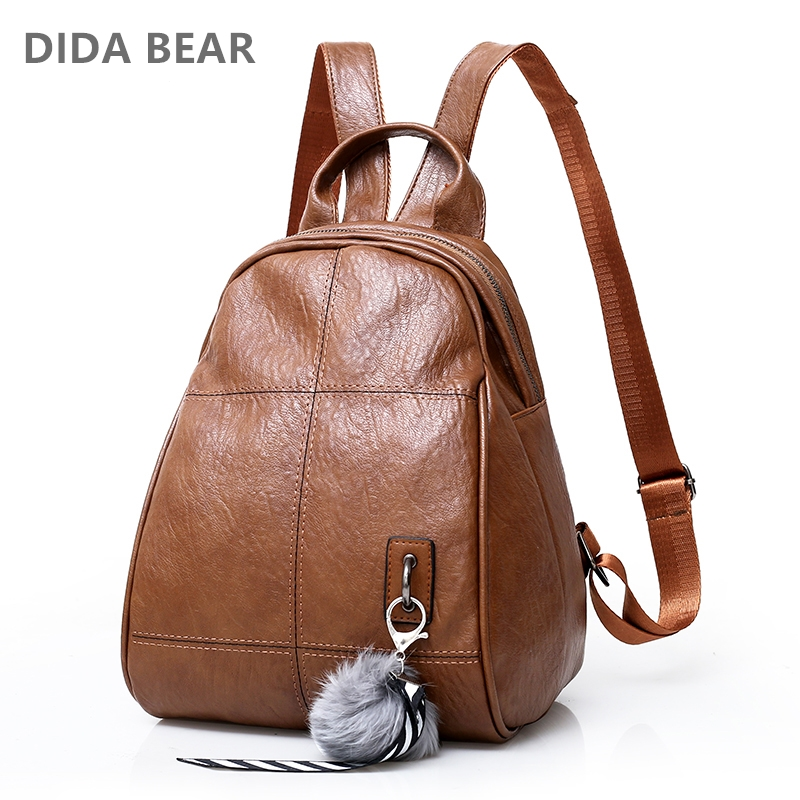 DIDA BEAR 2018 New Women Backpack Soft Leather Backpacks Mochila Feminina Small School Backpacks for Girls Teenagers Travel Bag 2017 new women leather backpacks students school bags for girls teenagers travel rucksack mochila candy color small shoulder bag