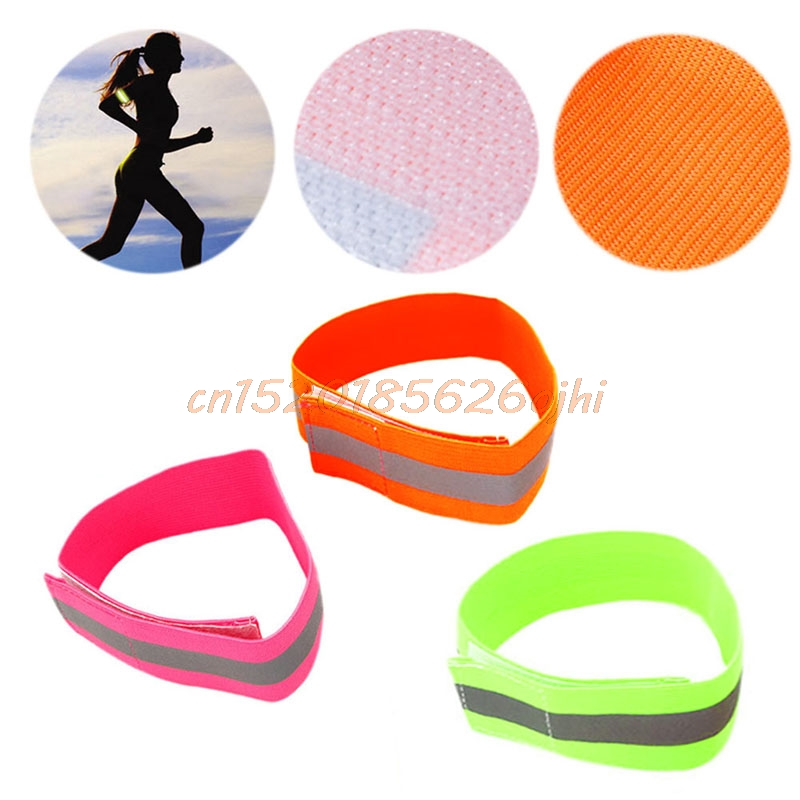 OOTDTY Safety Reflective Arm Band Belt Strap For Outdoor Sports Night Running Biking