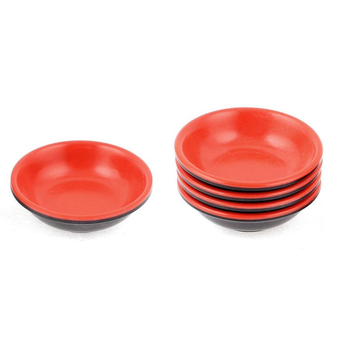 Бытовые Пластик круглый соевый соус погружения Bowl красные, черные 7 см диаметром 5 шт.