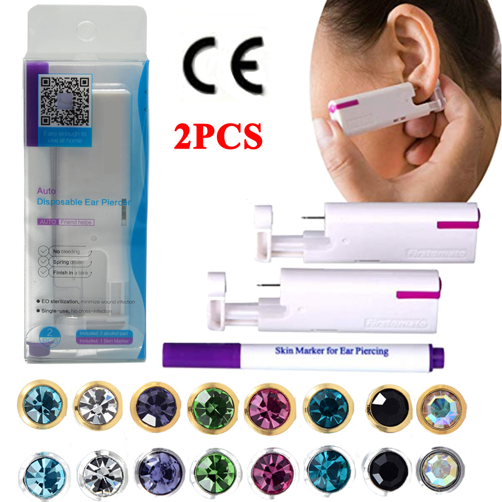 Ear Piercing Sterilized Disposable Aseptic 2PCS Gun-Group Household title=