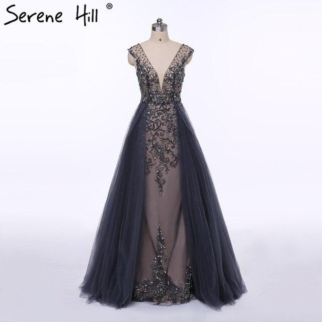 Праздничное платье модные роскошные-Line вечернее платье Длинные Diamond Crystal Тюль Формальное вечернее платье 2017 спокойной Hill