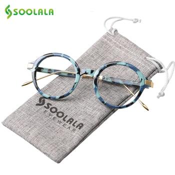 SOOLALA TR90 עגול קריאת משקפיים נשים גברים זול קריאת משקפיים נקה עדשה באיכות גבוהה משקפיים מרשם + 0.5 כדי 4.0