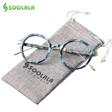 SOOLALA-gafas de lectura redondas TR90 para hombre y mujer, lentes de lectura transparentes de alta calidad, graduadas + 0,5 a 4,0