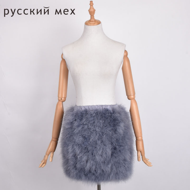New natural Ostrich fur Bra skirt women fur skirt real ostrich fur with feathers tops fur mini can customized