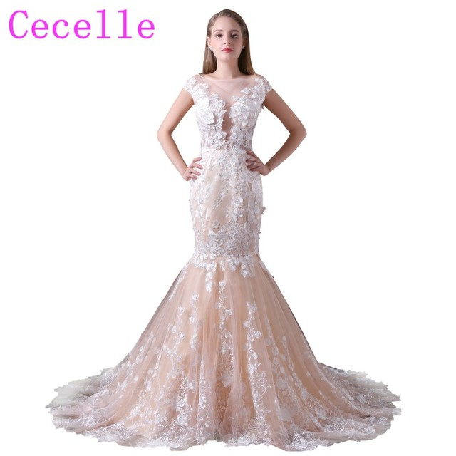 Champagne Lace Mermaid Wedding Dresses With Color Non White Bridal