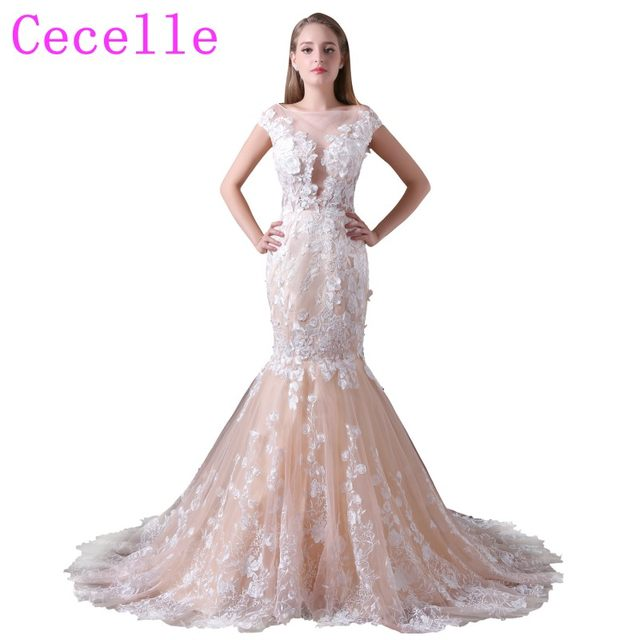 Online Shop Champagne Lace Mermaid Wedding Dresses With Color Non ...