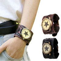 Fabulous Style Retro Punk Rock Brown Big Wide Leather Bracelet Cuff Men Watch Cool wide-leather-wristwatches wholesale