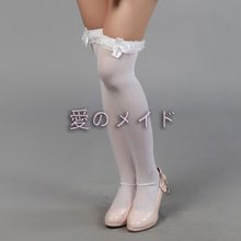 Women Girls Lolita Style Solid White Lace Bowtie Lace Top Stay ups hosiery Stocking Cosplay