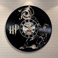 Harry Potter Movies Vinyl Record Clock Home Design Room Art Decor Handmade Vintage Wall Clock LED with 7colors