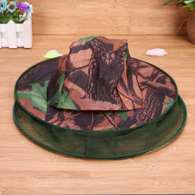 Camouflage Fishing Hat Bee keeping Insects Mosquito Net Prevention Cap Mesh Fishing Cap Outdoor Sunshade Lone Neck Head Cover 5