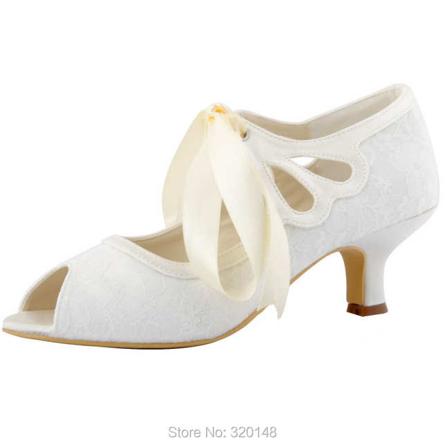 placeholder HP1522 Woman White Ivory Mid Heel Wedding Shoes Peep Toe Mary  Jane Lace Lady Ribbon Tie bf829b19e5d3