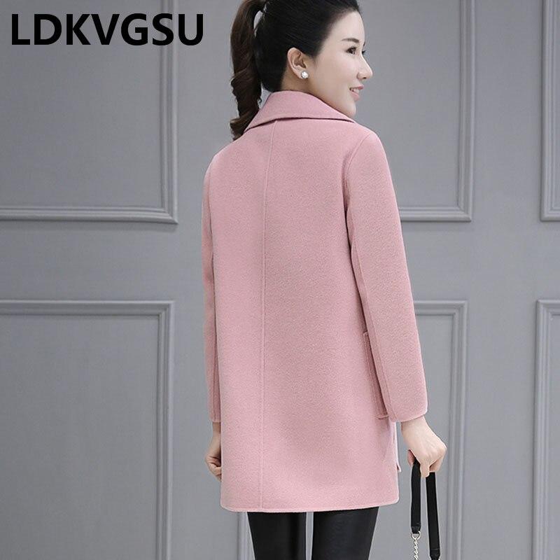 Boutonnage Femme Blue Long Manteau Élégant Moyen Is952 Coat Nouveau Double Femmes 2018 pink Vestes Laine Lâche De Coat Automne Veste Hiver Wool wTOZOC