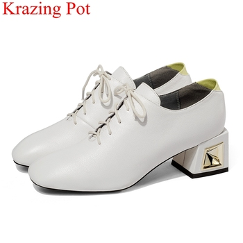 2018 superstar big size lace up office lady high heels women pumps square toe elegant concise autumn sweet wedding shoes L09
