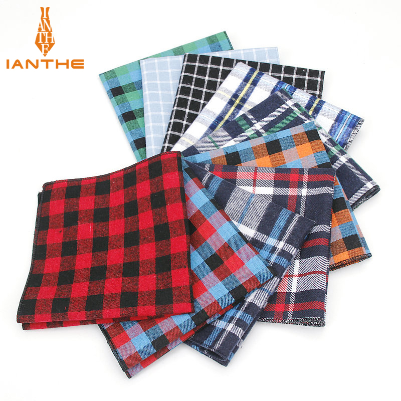 Men's Pocket Square Plaid Pattern Handkerchief Fashion Hanky For Men Business Suits Hankies Vintage Towel Accessories Navy