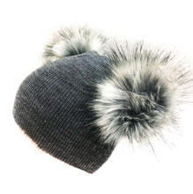 earflap cap children's winter infant newborn baby kids faux fur wool hat beanie with two double pom pom  for boys and girl 0-40Y