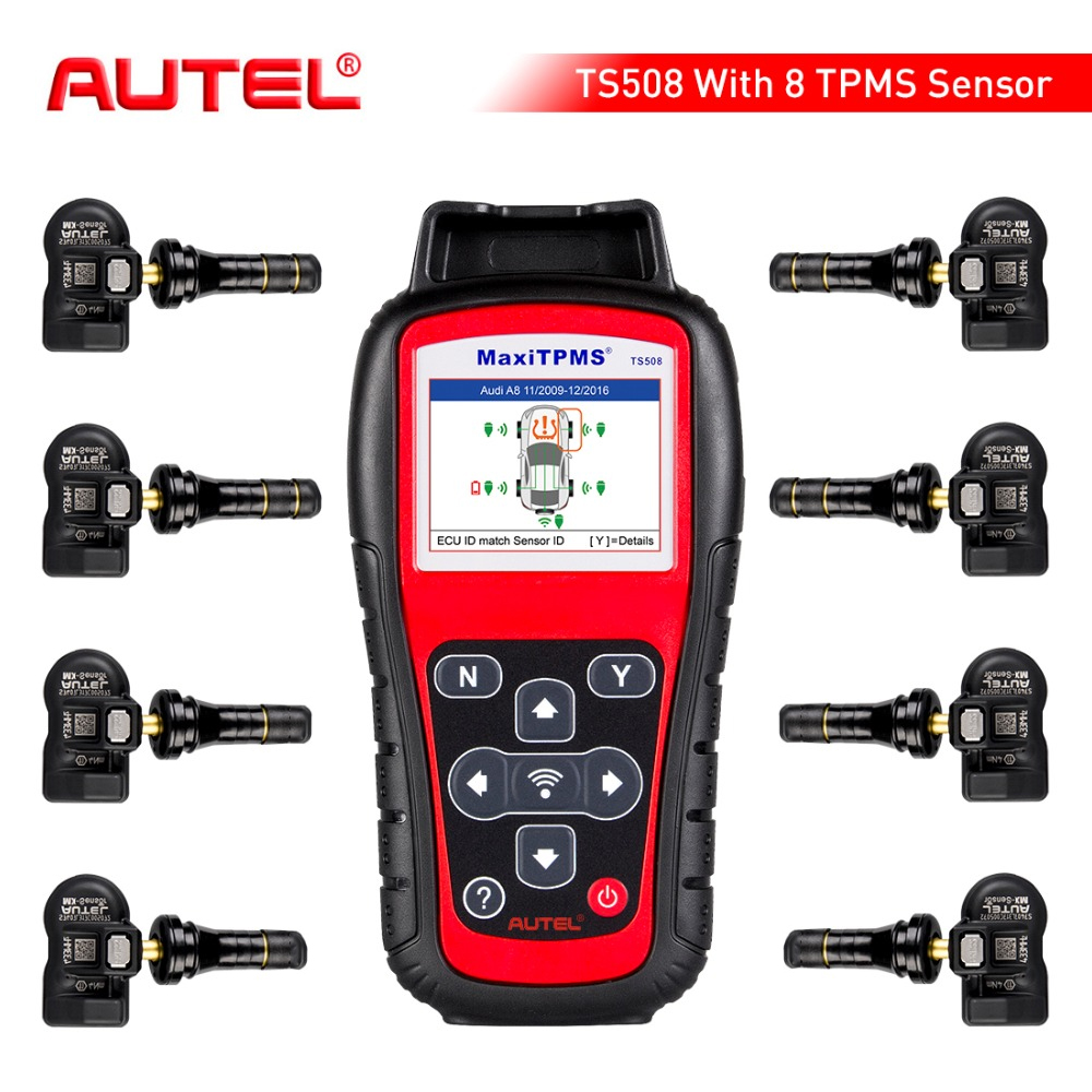Autel MaxiTPMS TS508K TPMS herramienta de diagnóstico de control de presión de reinicio de sistema con 8 piezas programable, 433 Mhz tpms MX- sensor