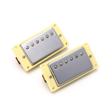 2PCS 32cm Guitar Parts Pickups Silvery Double Coil Humbucker Pickups Cover For Electric Guitar Yellow Frame
