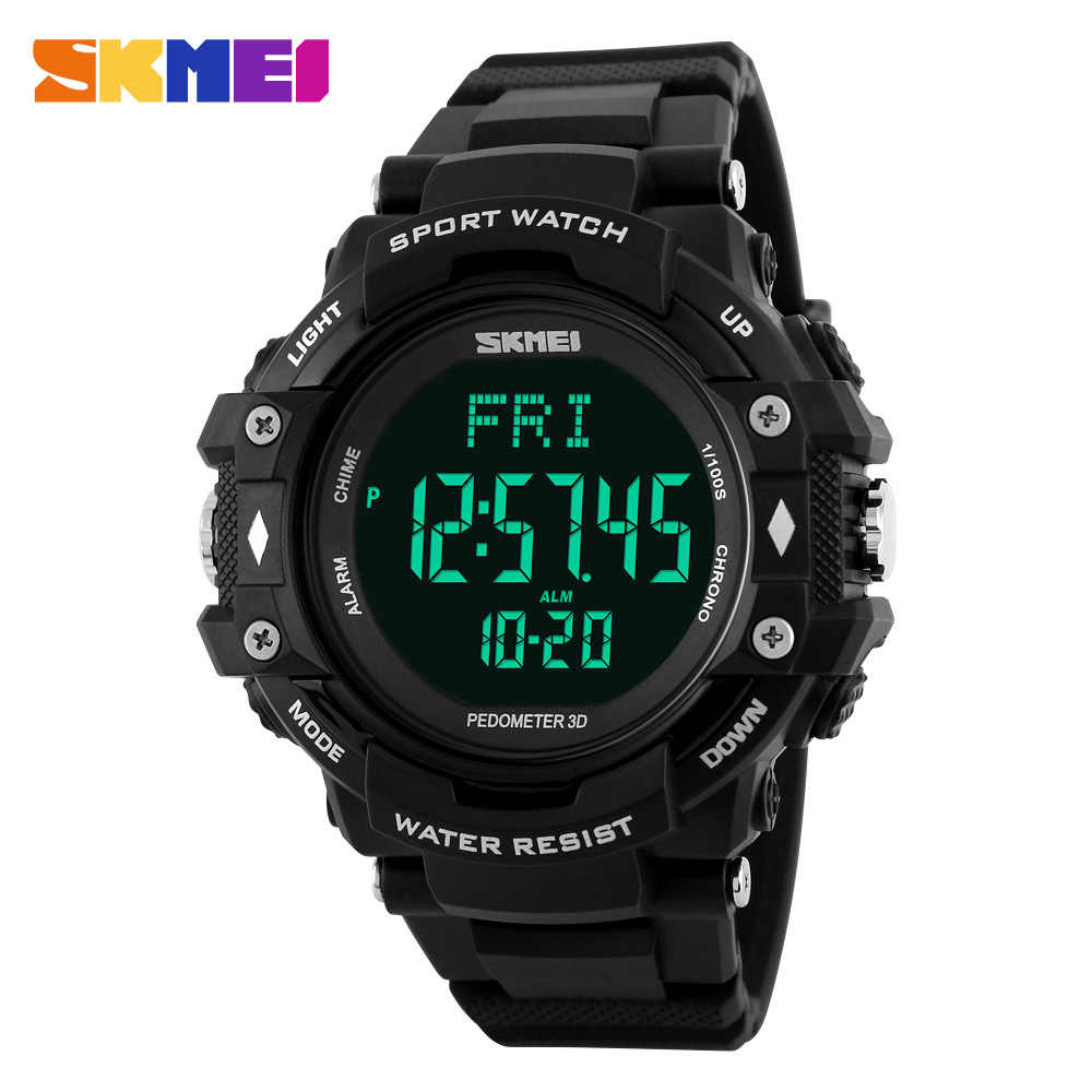 SKMEI 1180 Men Sports Watches 3D Pedometer Heart Rate Monitor Counter Chronograph Digital Calories Wristwatches Relogio Masculin