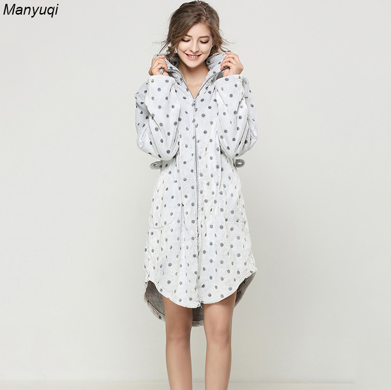 Winter bathrobe women spot zipper bathrobes home wear warm robe femme dressing gowns for women