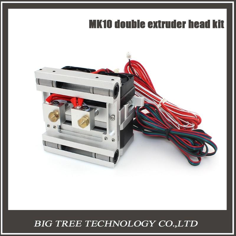 New DIY MK10 double nozzle extruder kit Makerbot2 metal extruder Aluminum alloy X-axis sliding block 0.4/1.75mm filament 3D0102