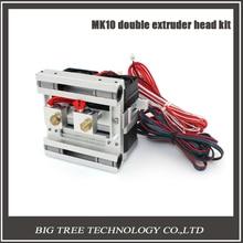 Новый DIY MK10 двойное сопло экструдера комплект Makerbot2 металла экструдер Алюминиевого сплава X-axis скользящий блок 0.4/1.75 мм нити 3D0102