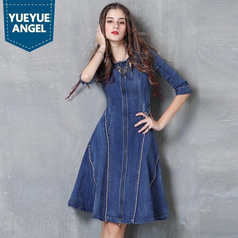 ac320d402cc3 Femminile Jean Manica Zip Denim Vestito Donne Robe Delle Nuovo Femme Mezza  Autunno Stile Gotico Del Sexy ...