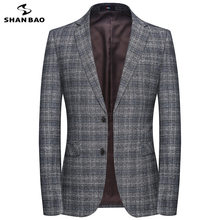 SHANBAO brand advanced material light coffee color gray business gentleman men's slim suit jacket 2019 autumn winter new suit(China)