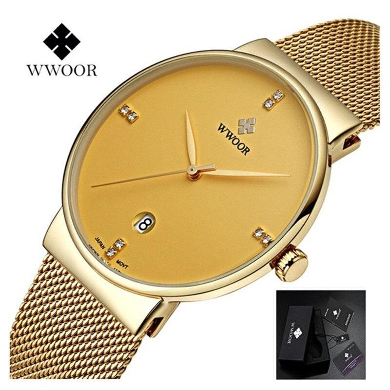 Márka WWOOR Watch férfi luxus rozsdamentes acél vízálló órák Naptár kvarc csukló arany Watch férfi óra montre homme 2018