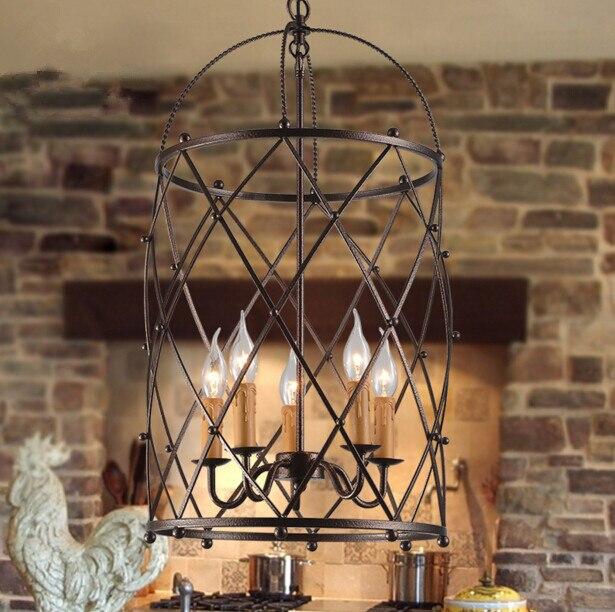 American Rural Iron Restaurant Bedroom Birdcage Pendant Lamp Industry Retro Creative Birdcage Pendant Light Free Shipping