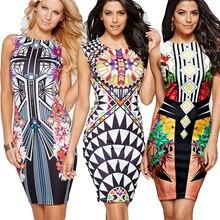 Fashion printed bodycon tunic evening party sheath sundress Casual o-neck high waist dress