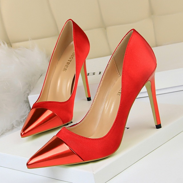 Bigtree Shoes Women Pumps High Heels Shoes Leather Pumps Women Wedding Shoes New Stiletto Women Shoes Pointed Toe Women Heels