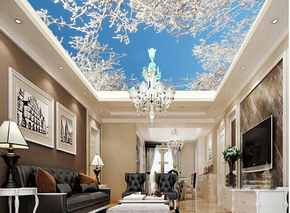 Home Decoration Cedar Tree Ceiling 3d wallpaper modern for living room murals Ceiling Non woven wallpaper in Wallpapers from Home Improvement