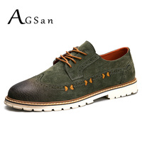 AGSan Men Genuine Leather Oxfords Army Green Brogue Shoes Lace Up Men Leather Casual Shoes 2017