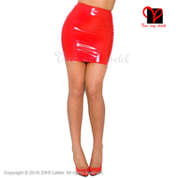 Sexy black or Red Latex pencil skirt Rubber miniskirt Gummi mini skirt Playsuit Bodycon XXXL plus size for women QZ 054