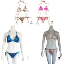 Women Sexy Bikini Set Halter Triangle Bra Low Waist Side Tie Thong Glitter Fish Scales Sequins Solid Color Swimsuit недорого