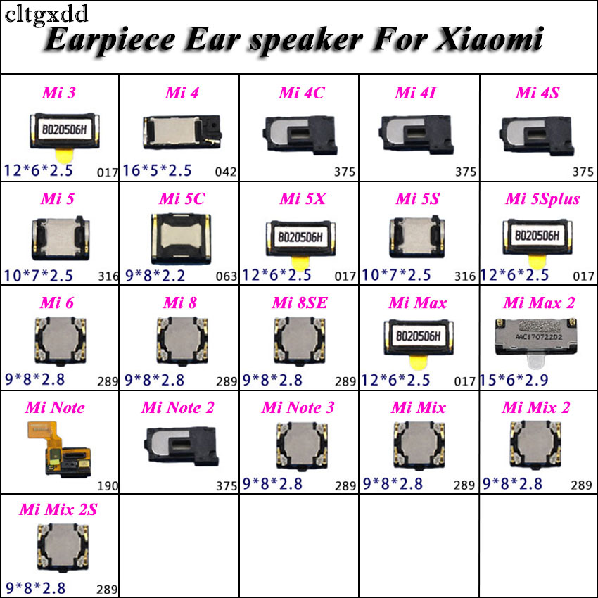 Cltgxdd 2pcs Earpiece Ear Speaker For Xiaomi Mi 3 4  4C 4I 4S 5 5C 5X 5S 5Splus 6 8 8SE Mi Note 2 3 Mix 2 2S Mi3 Mi4 Mi5 Mi6 Mi8