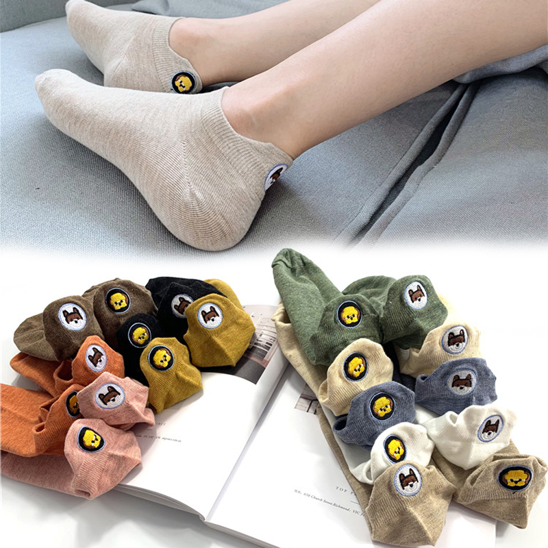 1 Pair Candy Color Kawaii Embroidered Expression Women Socks Happy Fashion Ankle Funny Socks Women Cotton